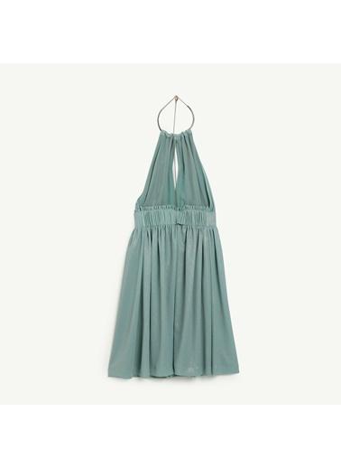 Yargıcı Büzgü Detaylı Elbise Yeşil